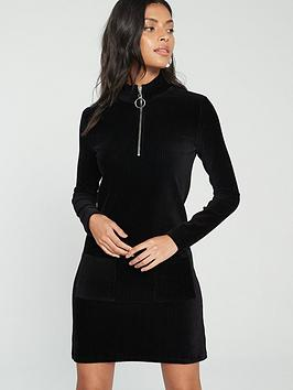 v-by-very-cord-high-neck-zipper-mini-dress-black