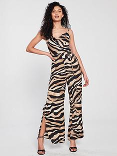 f6ad19e3b35 River Island River Island Printed Wide Leg Jumpsuit - Animal