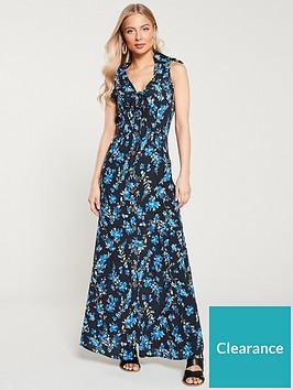 v-by-very-crepe-printednbspbuttonnbspthrough-maxi-dress-black