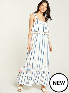 0abef9e1b94 V by Very Tie Waist Linen Maxi Dress - Stripe