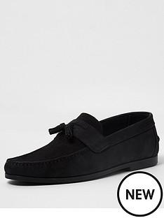 river-island-nubuck-tadley-loafers-black