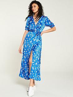 fc853f21e92 V by Very Jacquard Stripe Wrap Dress - Blue Floral
