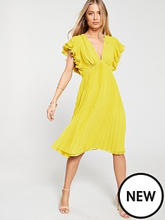 1b4fe08fa39 V by Very Ruffle Sleeve Pleated Skirt Dress - Yellow