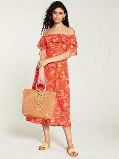 v-by-very-printed-bardot-midi-dress-orange-floral