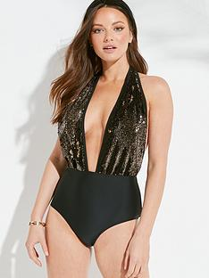 south-beach-reversible-sequin-plunge-front-swimsuit-black