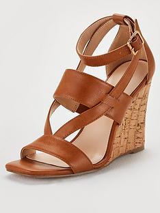 71cf82225d1 V by Very Giulia Ankle Strap Cork Wedge Sandal - Tan