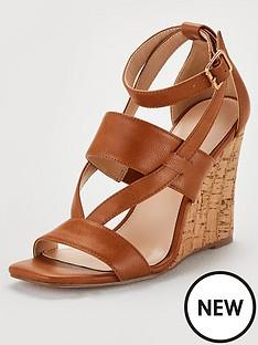 b8083d89630e V by Very Giulia Ankle Strap Cork Wedge Sandal - Tan
