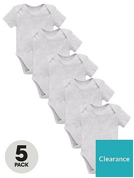 mini-v-by-very-baby-unisex-5-pack-short-sleeve-essential-bodysuits-grey-marl