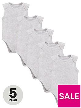 mini-v-by-very-baby-unisex-5-packnbspsleeveless-essential-bodysuits-grey-marl