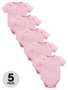 mini-v-by-very-baby-5-pack-short-sleeve-essential-pink-marl-bodysuits