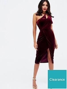 1119c11759 Lavish Alice Velvet One Shoulder Cut Out Midi Dress - Burgundy