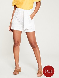 v-by-very-broderie-belted-short-white