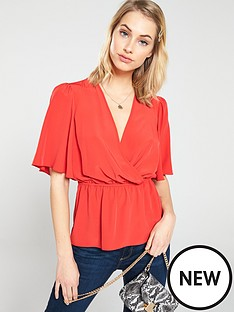 v-by-very-cape-sleeve-top-red