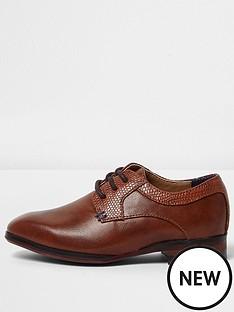 c32aff3e8175ee River Island Mini Mini Boys Tan Brown Pointed Brogue Shoes