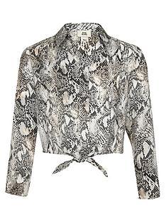 river-island-girls-grey-snake-print-tie-front-shirt