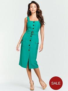 michelle-keegan-belted-linen-midi-dress-green