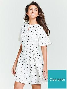 michelle-keegan-spot-tie-waist-linen-skater-dress