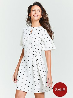 michelle-keegan-spot-tie-waist-linen-skater-dress