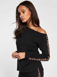 v-by-very-leopard-trim-slouchy-top-co-ord-black