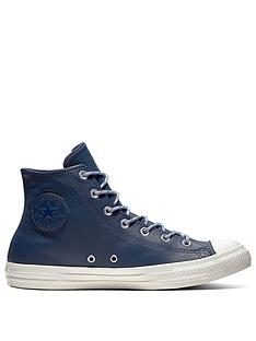 48663100408 Converse Chuck Taylor All Star Leather Hi - Navy White