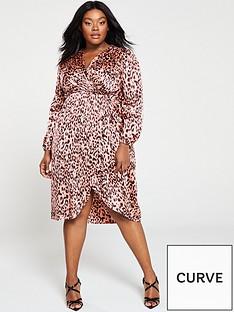 0428dde56bb AX PARIS CURVE Satin Wrap Front Mini Dress - Pink