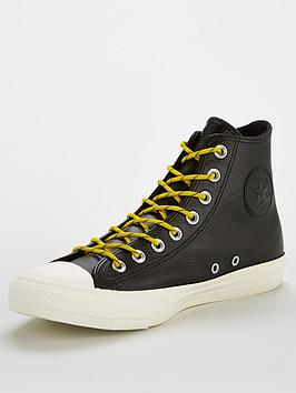 6d82b5577f58 Converse Chuck Taylor All Star Leather Hi Trainers - Black White ...