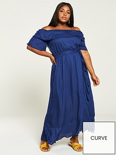 99c0d2e4774c7b V by Very Curve Dobby Ruffle Maxi Dress - Navy