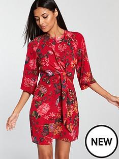 ax-paris-knot-front-floral-dress-red