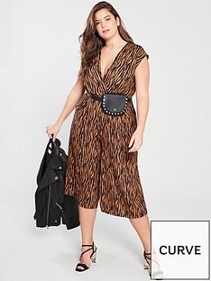 4b3c65cdb6 AX PARIS CURVE Tiger Wrap Jumpsuit - Brown
