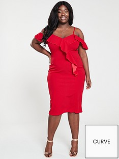 ax-paris-curve-frill-front-bodycon-dress-red