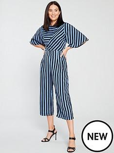 AX Paris Striped Culotte Jumpsuit - Blue e3f02635e
