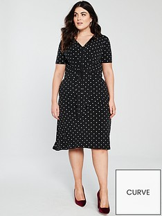 v-by-very-curve-polka-dot-printed-knot-front-dress-black