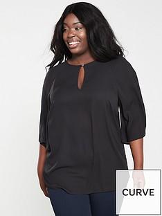 c1bb415aaf4ba5 V by Very Curve Kimono Sleeve Longline Blouse - Black