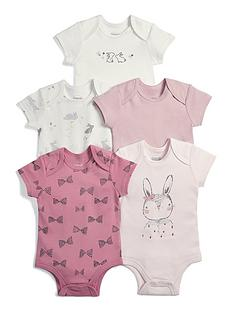 7f7d3f0df8ef Mamas   Papas Baby Girls 5 Pack Bodysuits - Pink