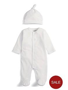 mamas-papas-unisex-velour-cloud-sleepsuit-and-hat-white