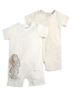 8fe83e379bac Mamas   Papas Baby Unisex 2 Pack Animal Rompers - Sand