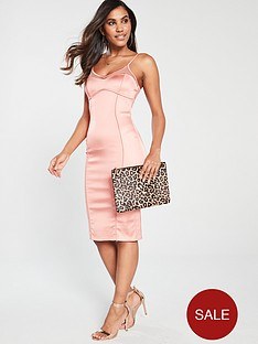 the-girl-code-stretch-satin-illusion-midi-dress-coral