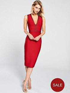 the-girl-code-tonal-plunge-bandage-dress-red
