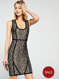 the-girl-code-lace-and-bandage-mix-contour-dress-blackcream