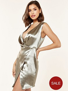 the-girl-code-satin-drape-waist-mini-dress-khaki