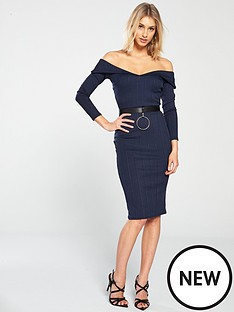 lost-ink-lost-ink-fold-front-bardot-bodycon-dress-with-belt