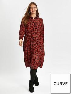 evans-zebra-print-shirt-dress-red