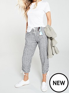 c59e4c2941 V by Very Linen Mix Crop Trouser - Stripe