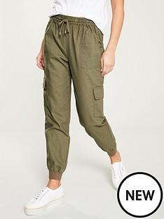 v-by-very-linen-shirred-jogger-with-cargo-pockets-khaki