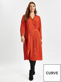 evans-asymmetric-button-shirt-dress-rustnbsp