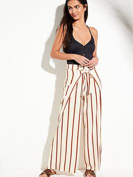 58e8cdf8b3 V by Very Tie Front Split Leg Beach Trousers - Stripe |  littlewoodsireland.ie