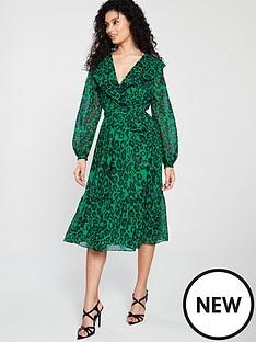 wallis-green-animal-wrap-midi-dress