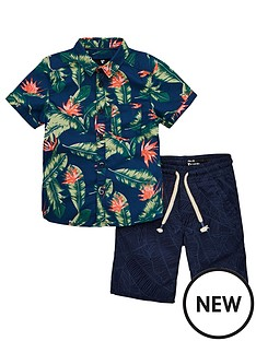 7f98bad3c Mini V by Very Boys Hawaiian Shirt & Palm Short Set - Multi