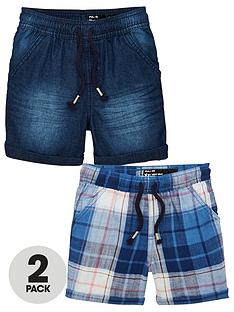 mini-v-by-very-boys-2-pack-denim-amp-check-pull-on-shorts-multi
