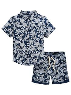 9c2b12e65c V by Very Boys 2 Piece Palm Print Shirt and Shorts Co Ord Set - Blue/White